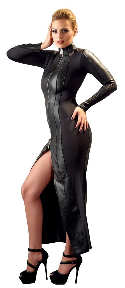 Dlouhé kožené šaty (velikost L)