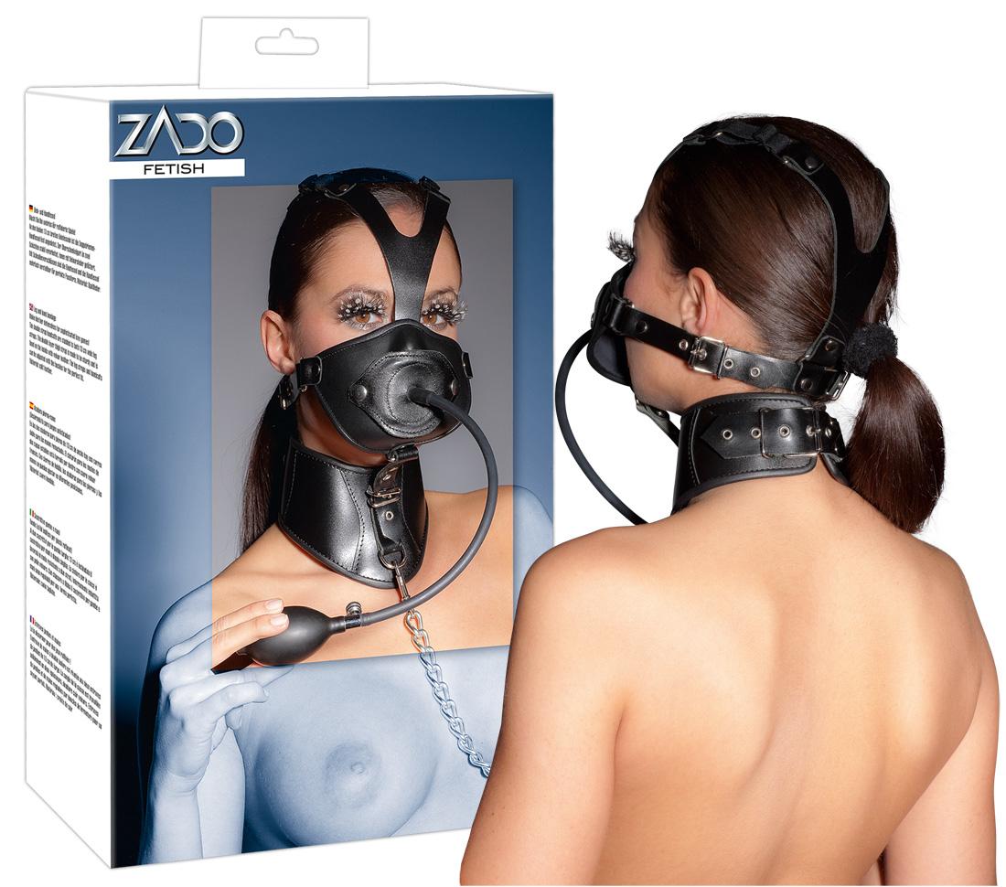 Kombinovaná kožená maska s obojkem