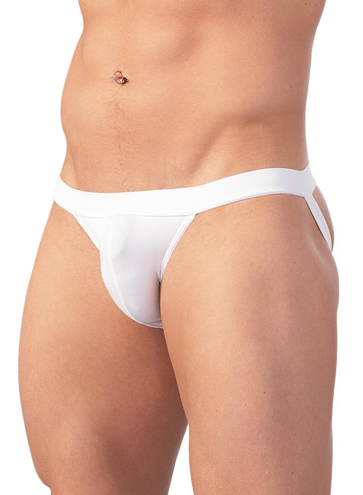 Pánské slipy s pásem pod zadek - bílé (velikost L)