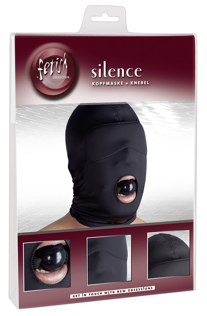 Černá maska na hlavu s roubíkem