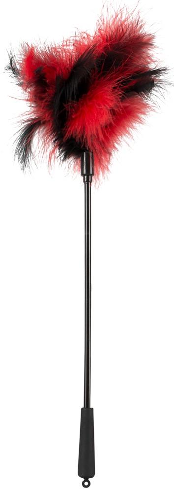 Dráždítko s peřím červeno-černé