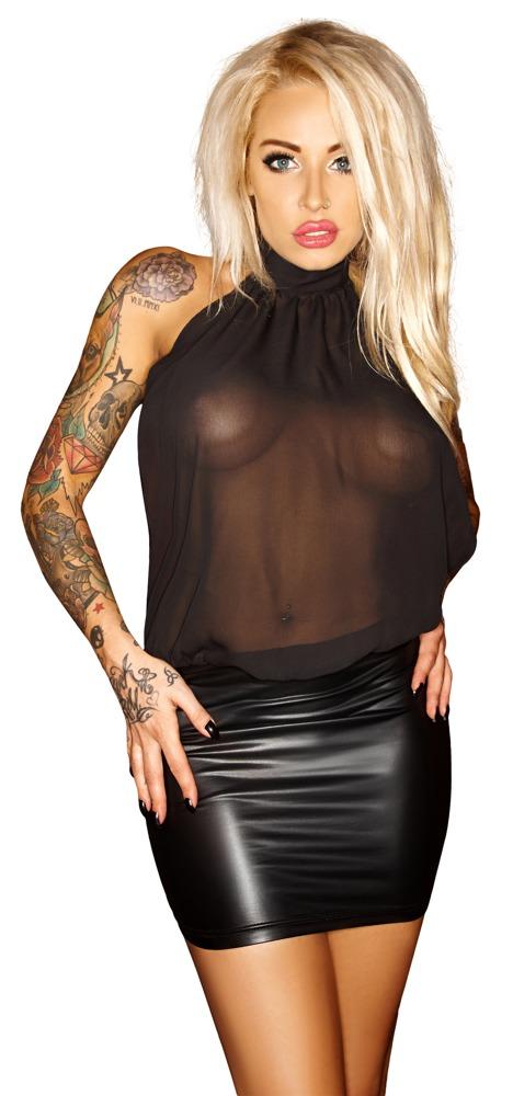 Lesklé průhledné mini šaty (velikost S)