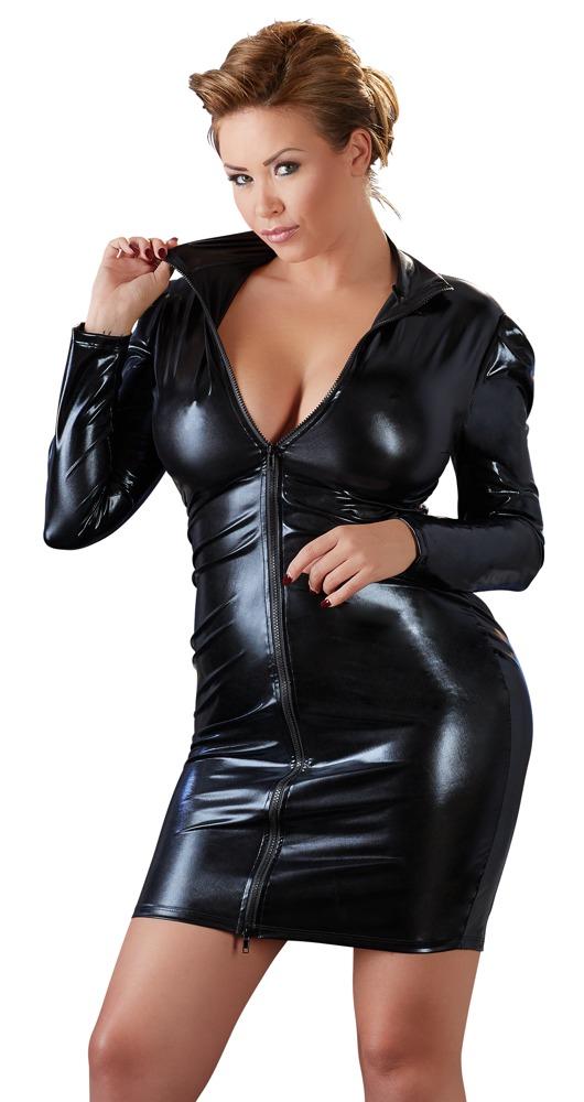 Šaty z wetlook materiálu (velikost XL)