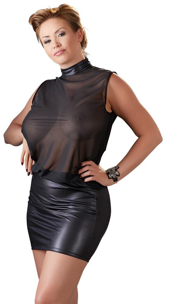 Průhledné černé šaty (velikost XXXL)