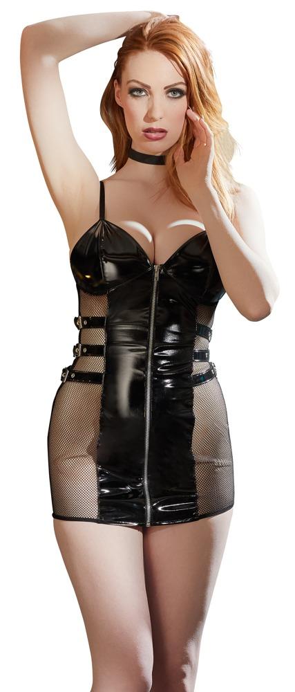 Černé vinylové šaty (velikost XL)