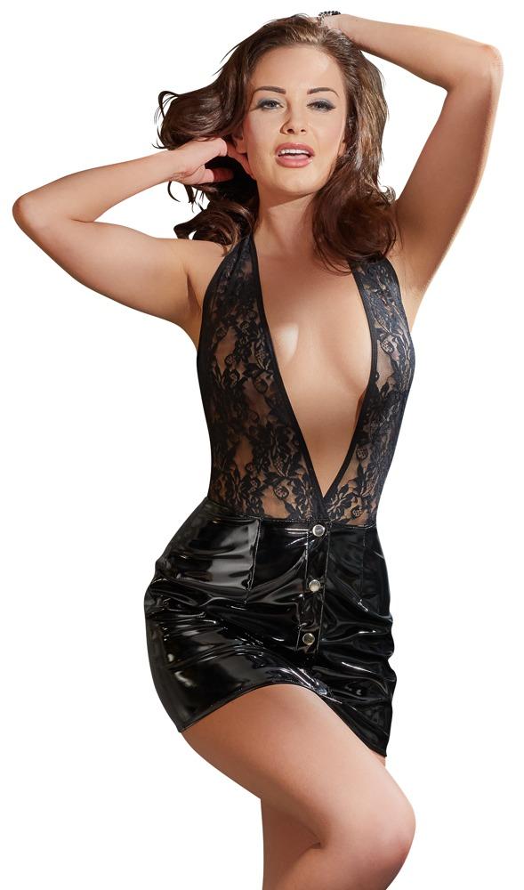 Vinylové krajkové šaty (velikost M)