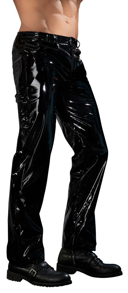 Pánské dlouhé vinylové kalhoty černé (velikost XL)