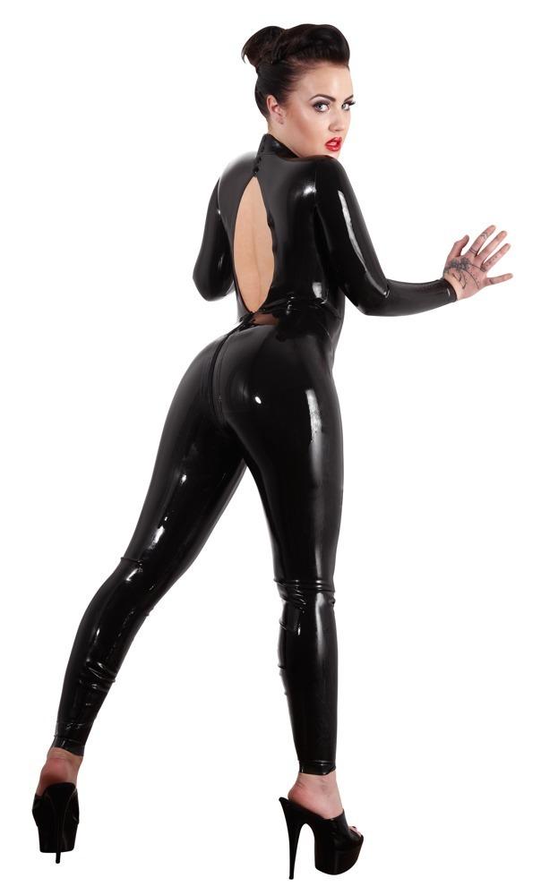 Černý latexový catsuit (velikost XXL)