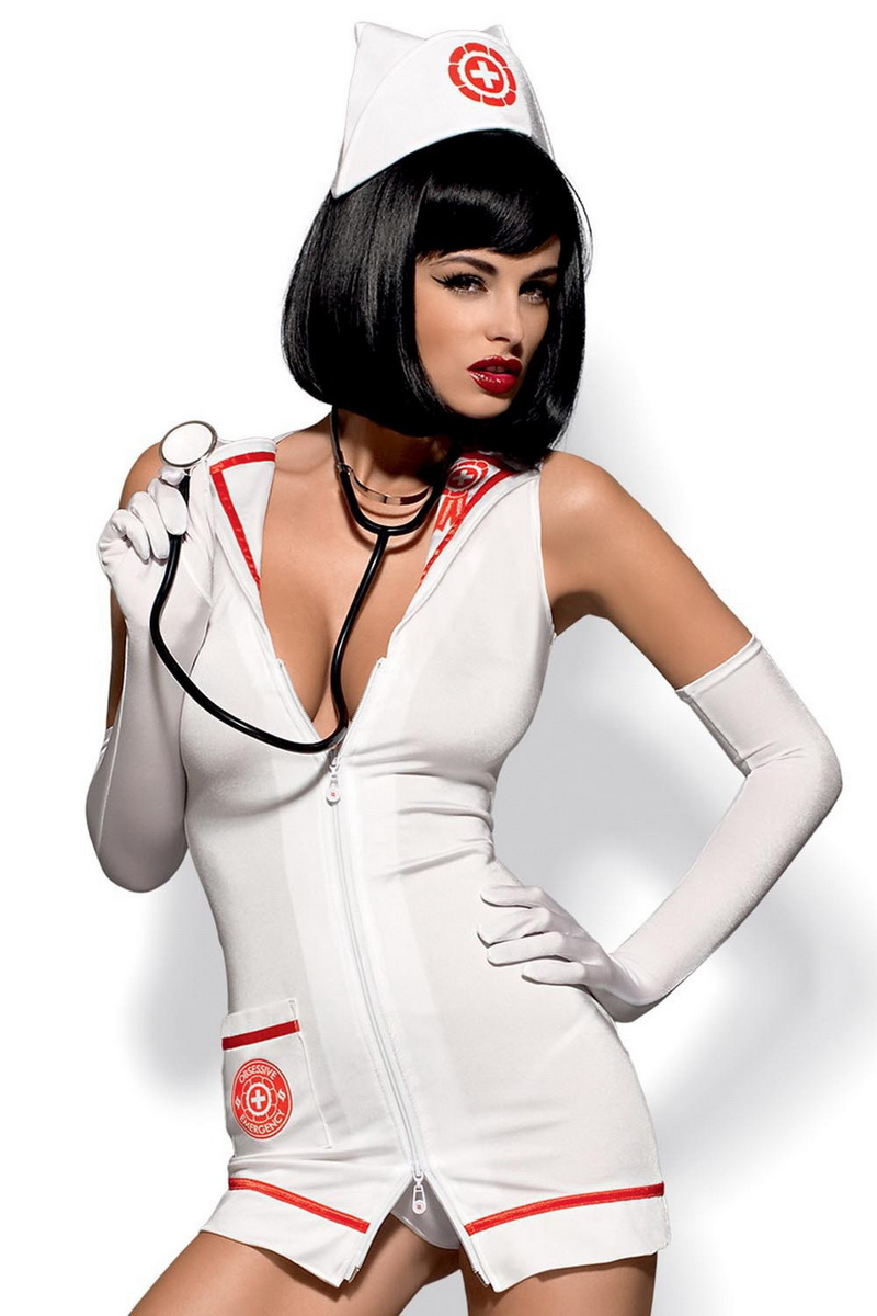 Sexy kostým Obsessive Emergency dress bílý + stetoskop (velikost S/M)