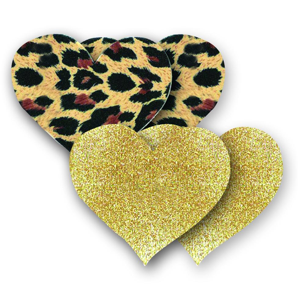 Ozdoby na bradavky - leopardí srdíčka