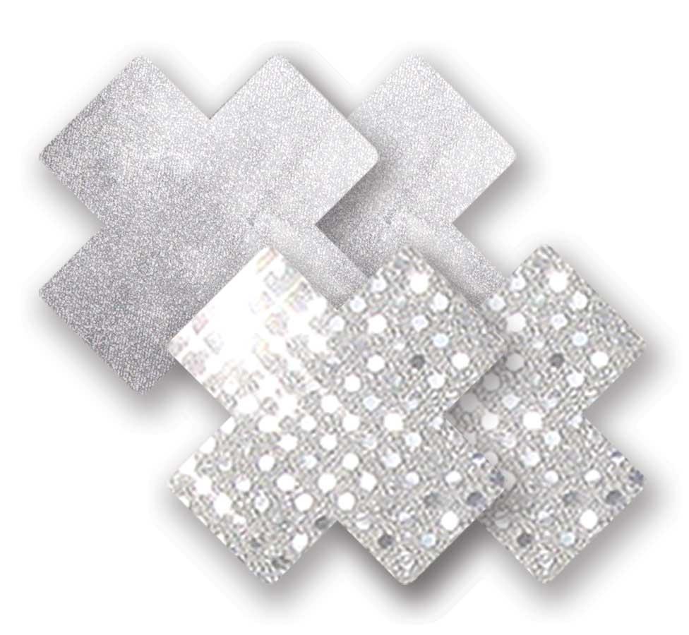 Ozdoby na bradavky - třpytivé stříbrné křížky