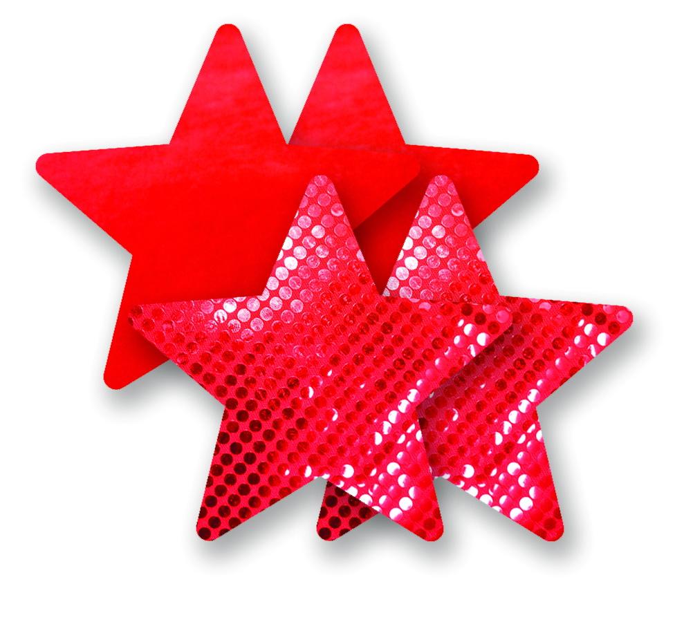 Ozdoby na bradavky - červené hvězdičky