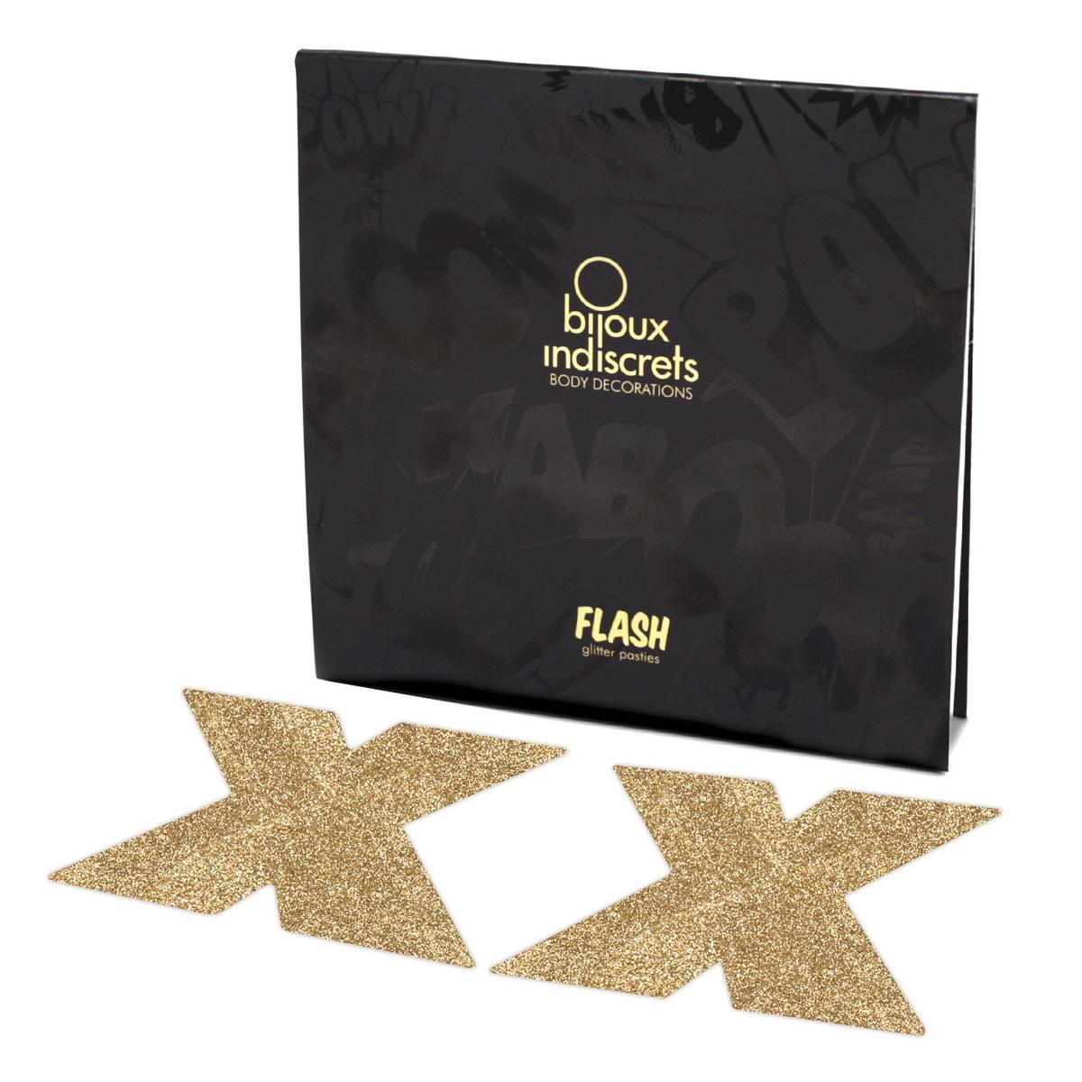 Bijoux Indiscrets - Nálepky na bradavky Flash - zlatý kříž