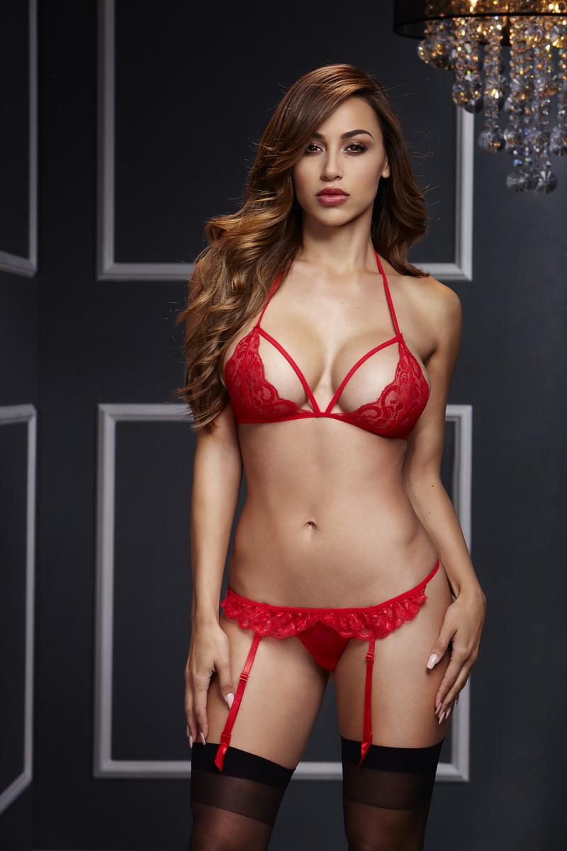 Baci - Sada červené krajkové podprsenky a kalhotek (velikost S/L)