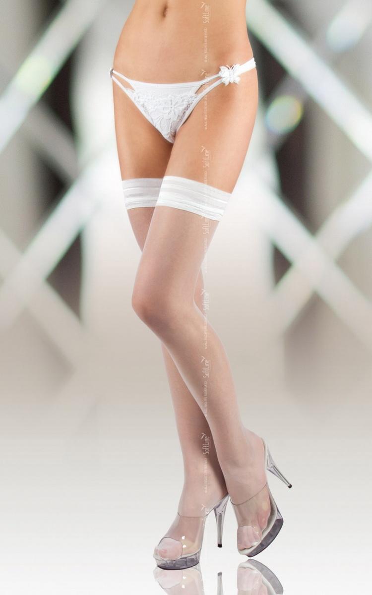 Samodržící punčochy Softline 5513 bílé (velikost S)