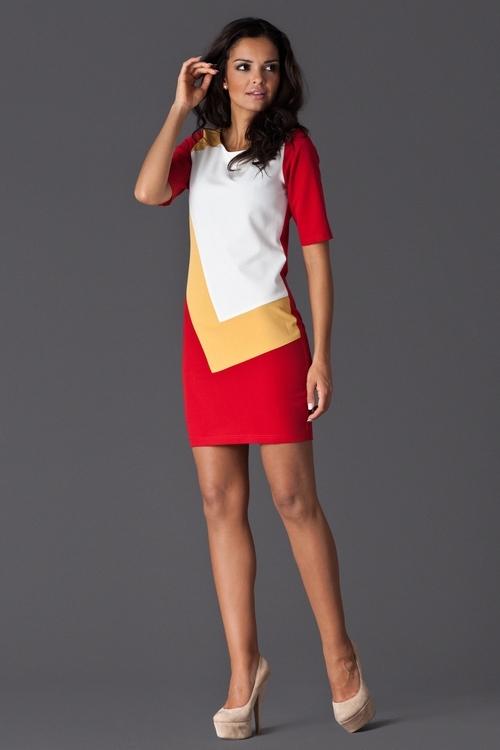 Dámské šaty Figl M118 červené (velikost XL)