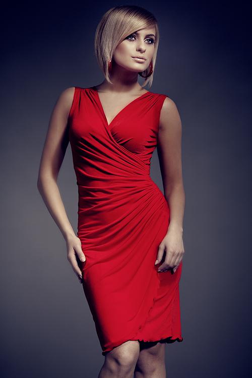 Dámské šaty Figl M053 červené (velikost XL)