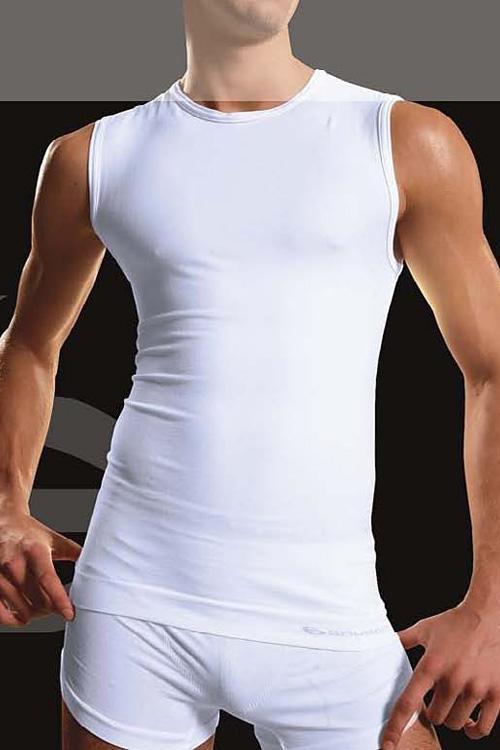 Bezešvé tričko Brubeck SL00068 bílé (velikost L)