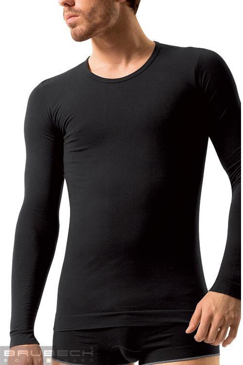 Bezešvé tričko Brubeck LS01120 černé (velikost S)