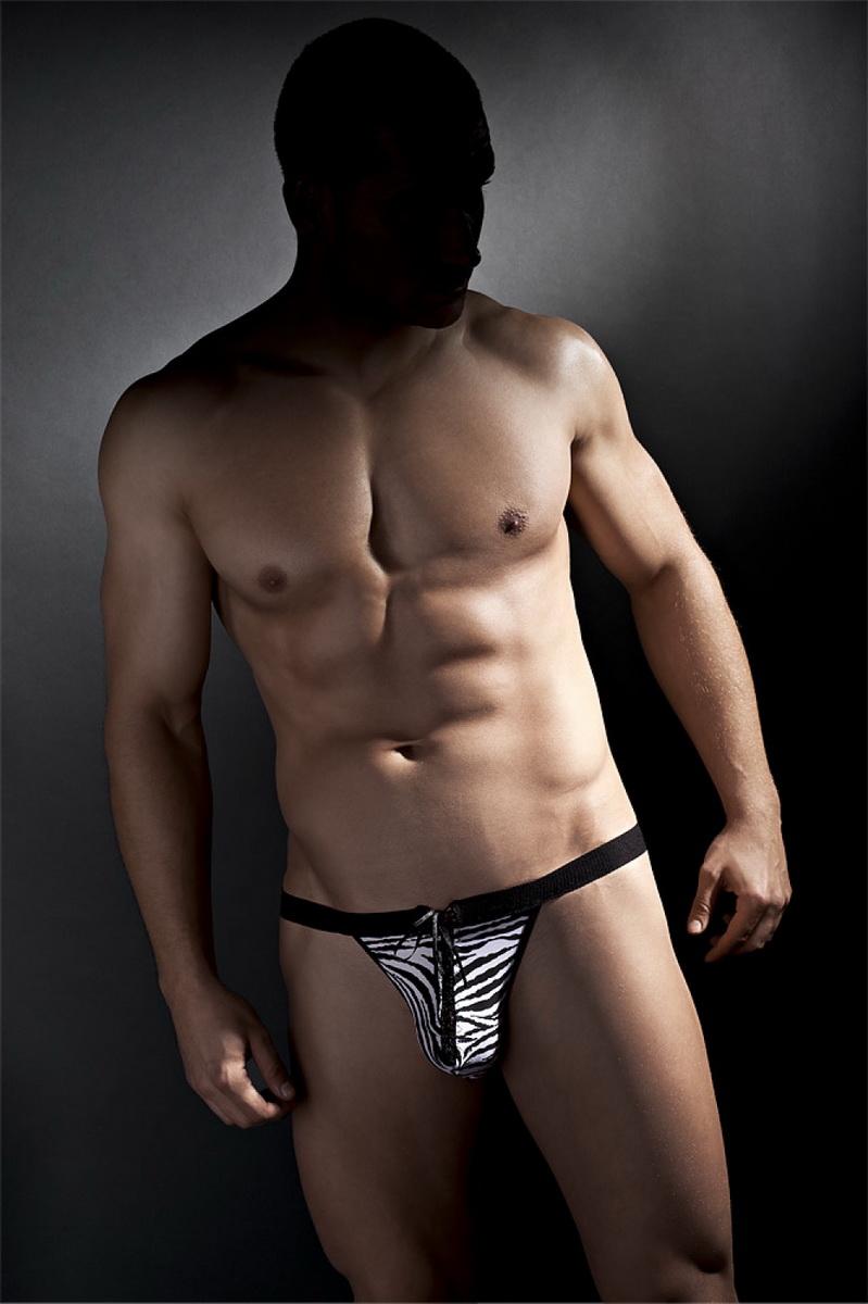 Pánské tanga Anais Gerry černo-bílé (velikost XXL)