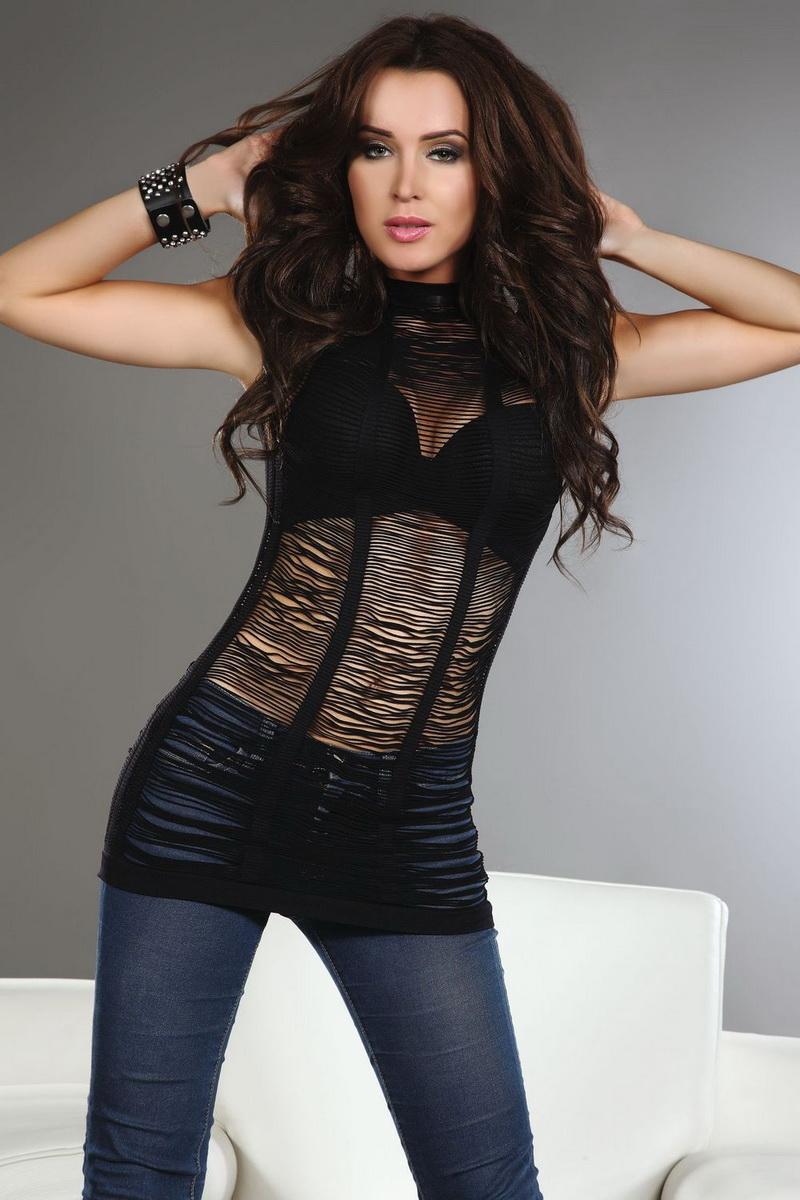 Erotické tílko LivCo Corsetti Edvige černé (velikost L/XL)