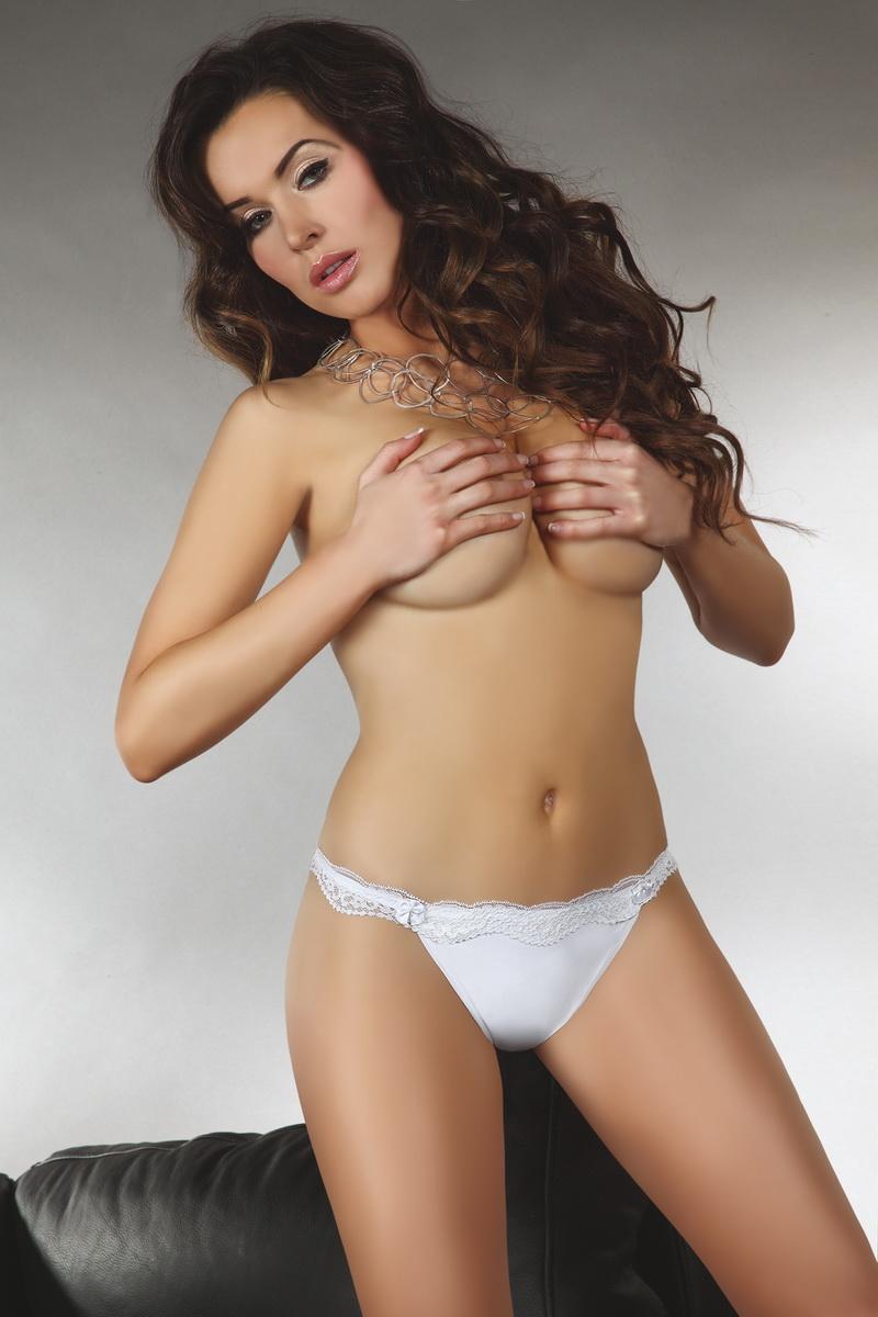 Dámské tanga LivCo Corsetti Shizu bílé (velikost M)