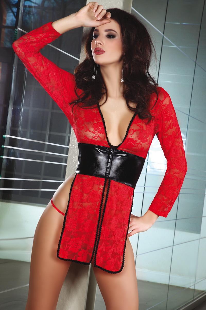 Erotická košilka LivCo Corsetti Cauvery červeno-černá (velikost L/XL)