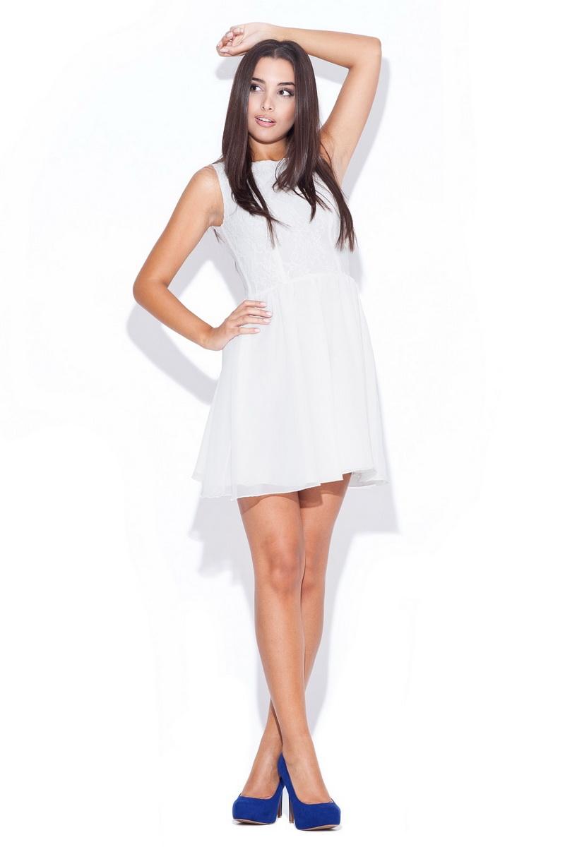 Dámské šaty Katrus K007 krémové (velikost S)