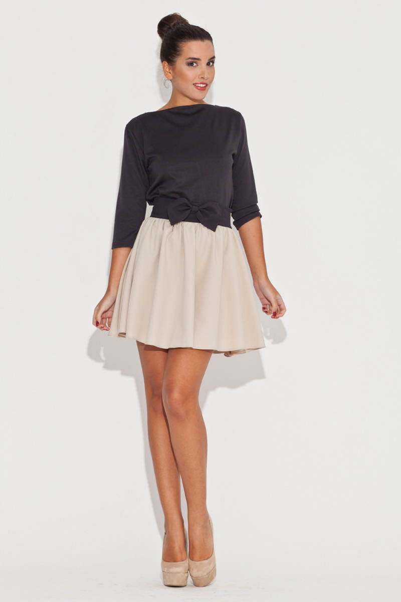 Dámská sukně Katrus K056 béžovo-černá (velikost S)