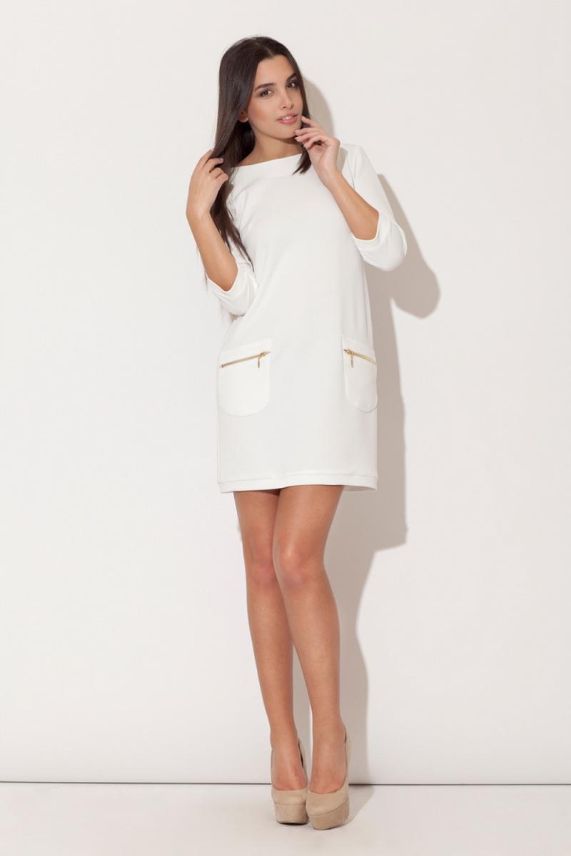 Dámské šaty Katrus K087 krémové (velikost S)