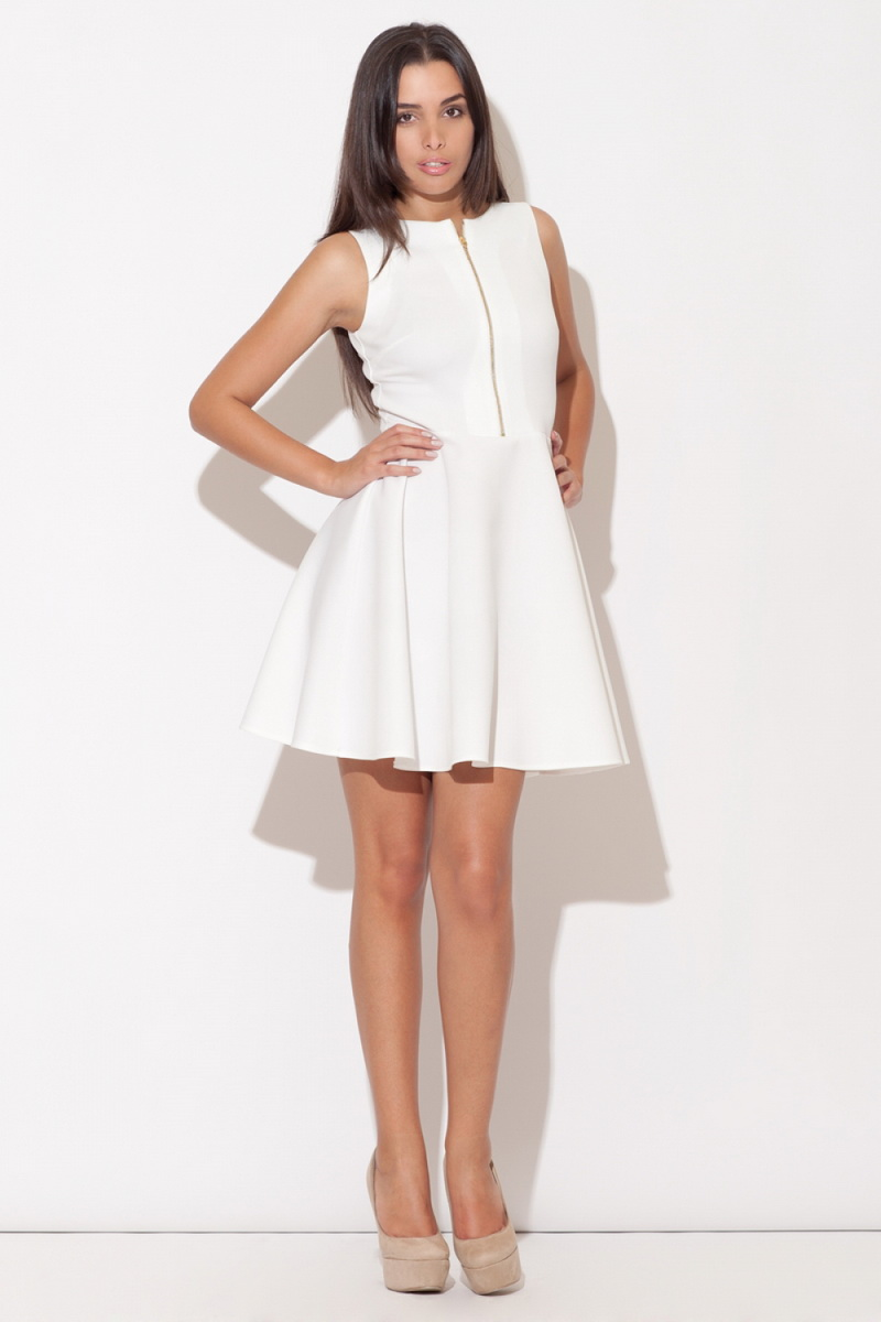Dámské šaty Katrus K098 krémové (velikost S)