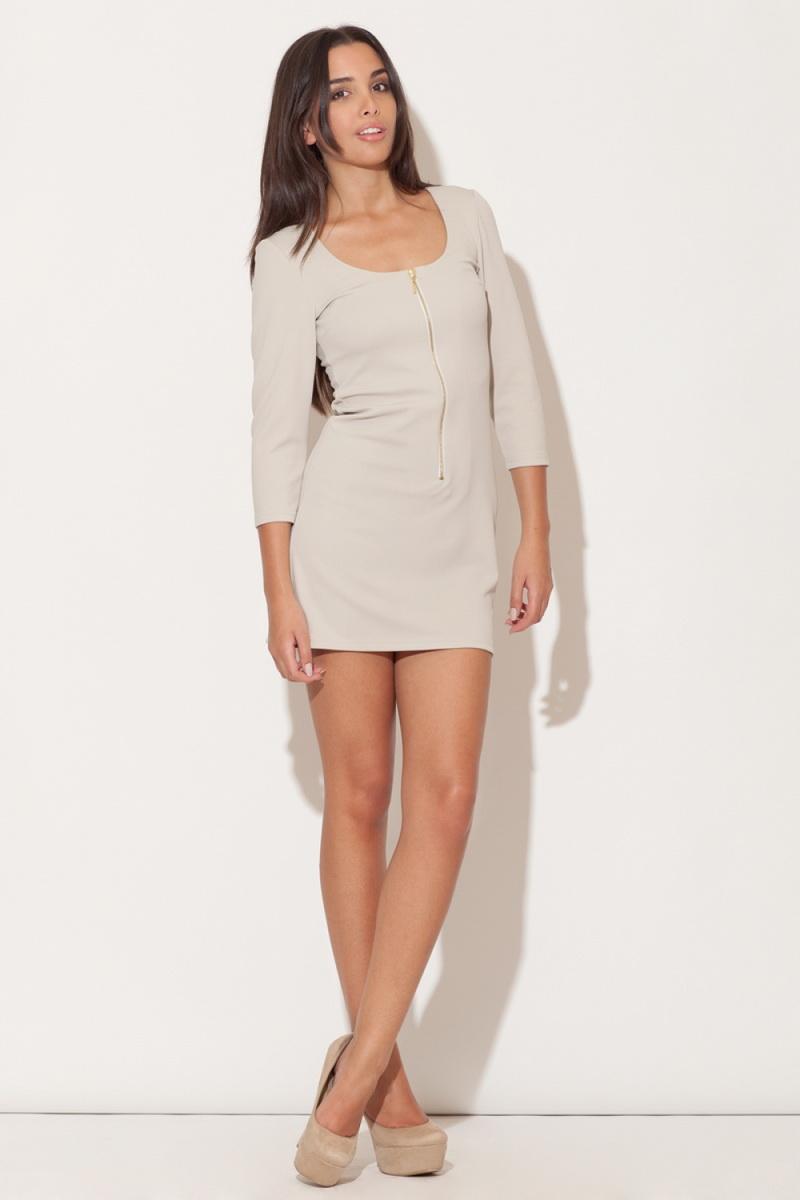 Dámské šaty Katrus K104 béžové (velikost S)