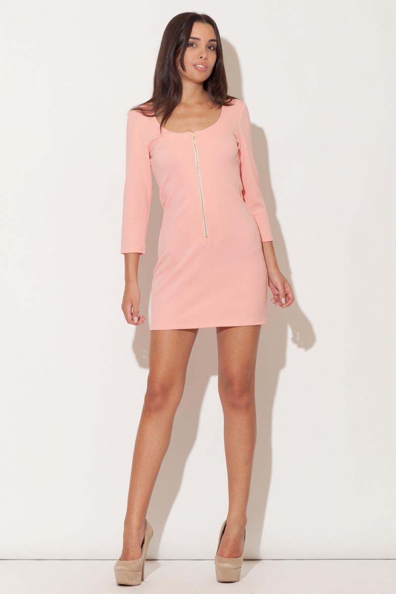 Dámské šaty Katrus K104 růžové (velikost S)