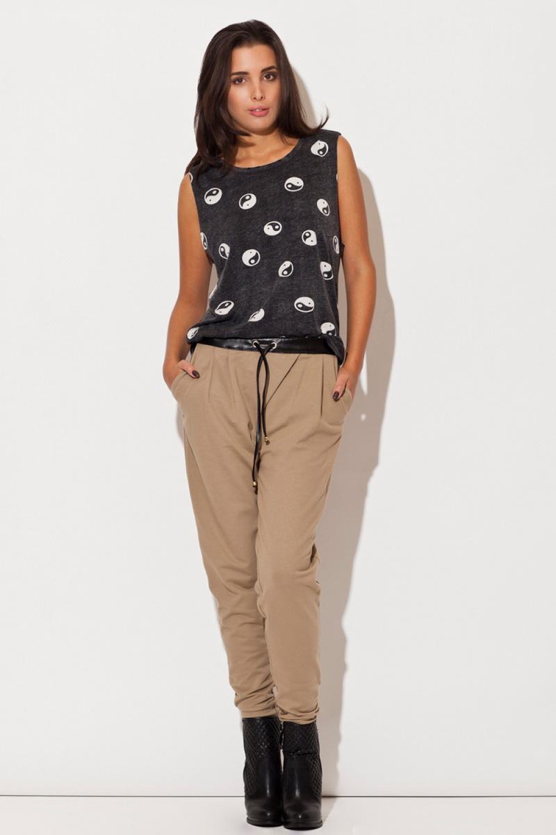 Dámské kalhoty Katrus K107 béžové (velikost S)