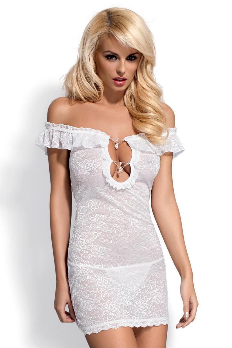 Erotická košilka Obsessive Diamond bílá (velikost S/M)