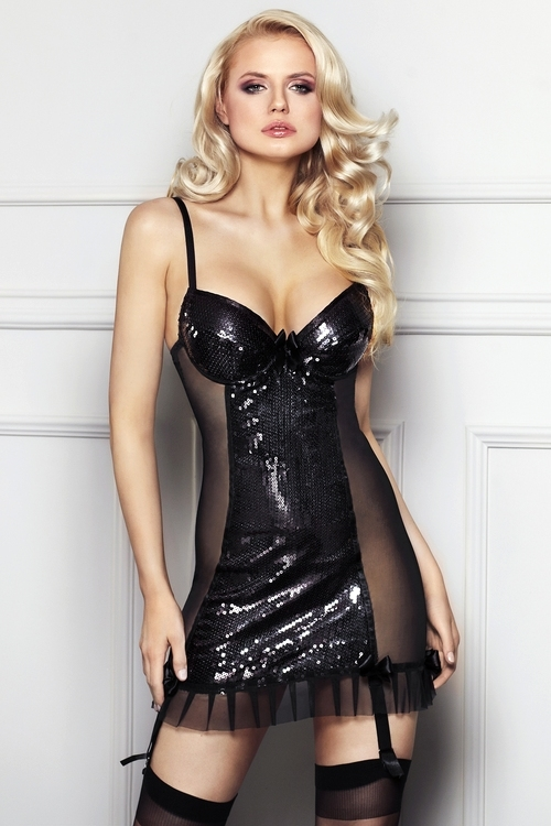 Erotická košilka 7-Heaven Florencia černá (velikost S)