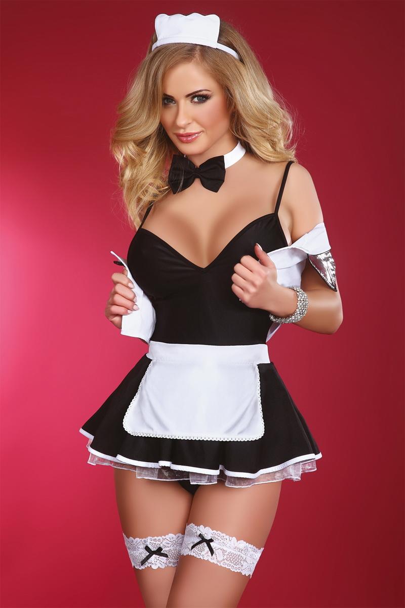 Erotický kostým LivCo Corsetti Flirty maid černo-bílý (velikost L/XL)