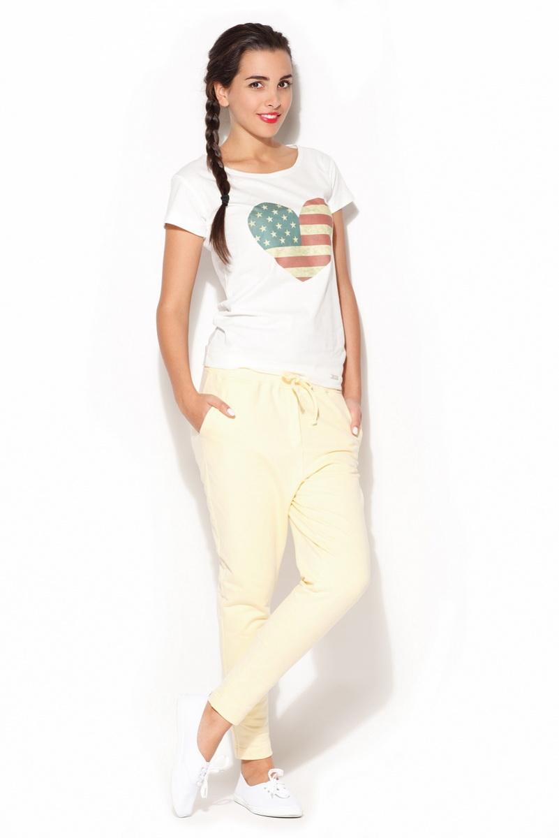 Dámské kalhoty Katrus K187 žluté (velikost S)