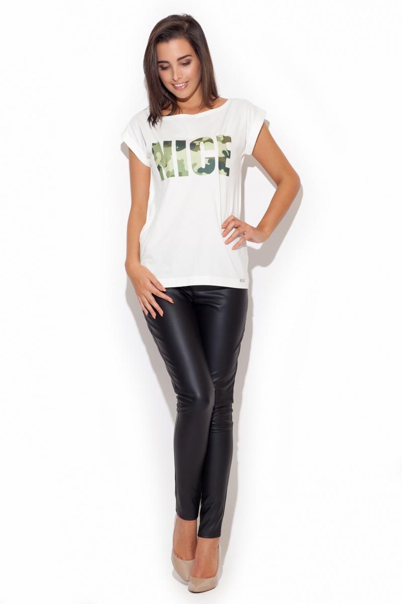 Dámské triko Katrus K221 bílo-zelené (velikost S)