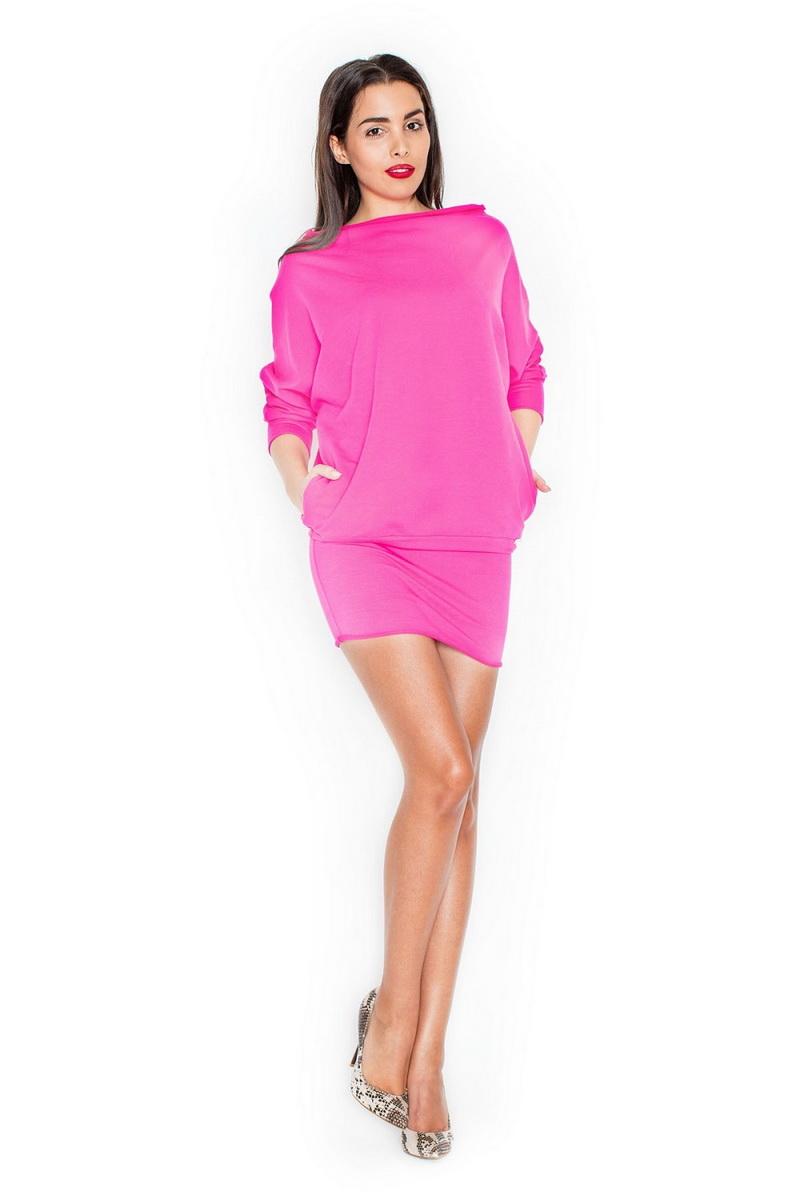 Dámské šaty Katrus K254 fuchsiové (velikost S/M)