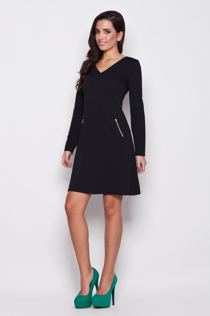 Dámské šaty Katrus K078 černé (velikost M)