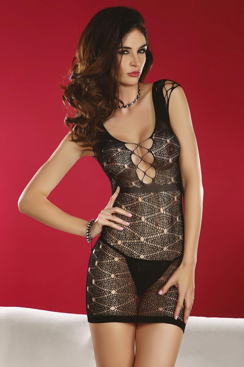 Erotická košilka LivCo Corsetti Daksha černá (velikost S/L)