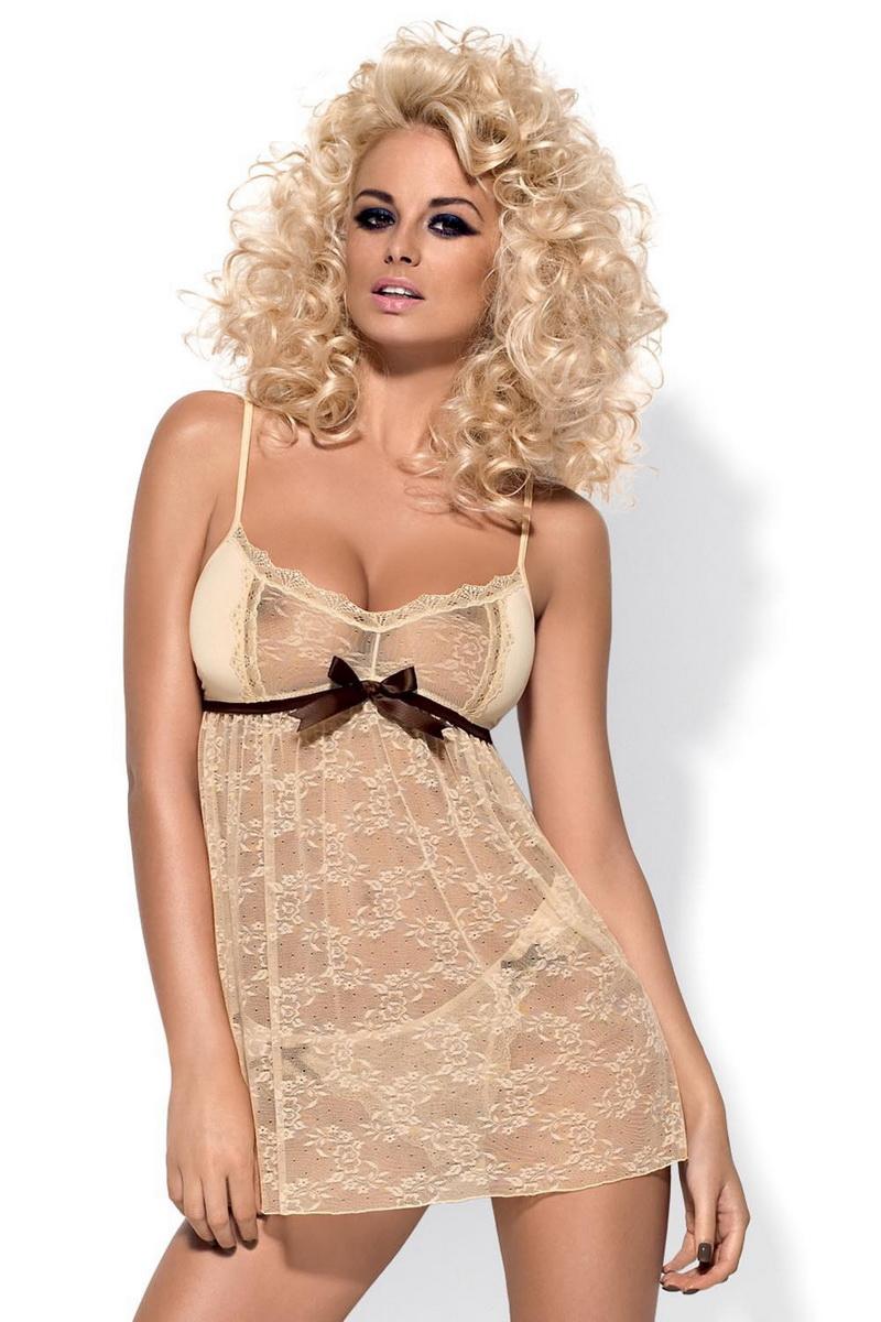 Erotická košilka Obsessive Caramella béžová (velikost XXL)