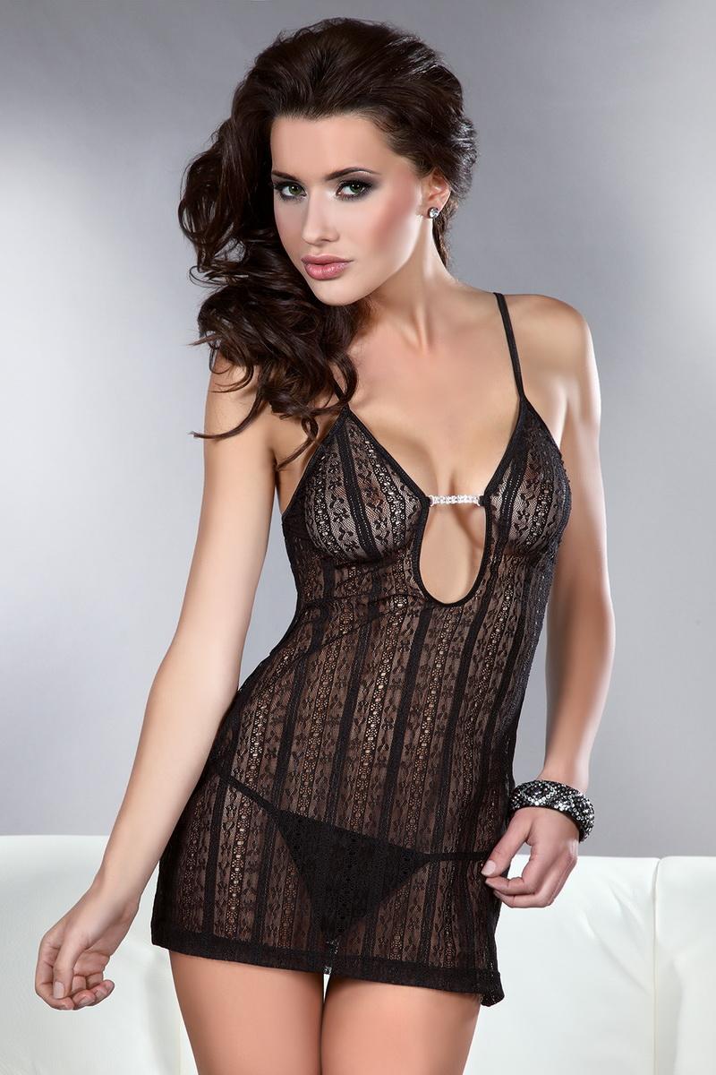 Erotická košilka LivCo Corsetti Conchita černá (velikost S/M)