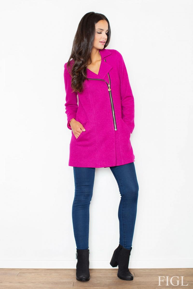 Dámský kabát Figl M405 tmavě růžový (velikost S)