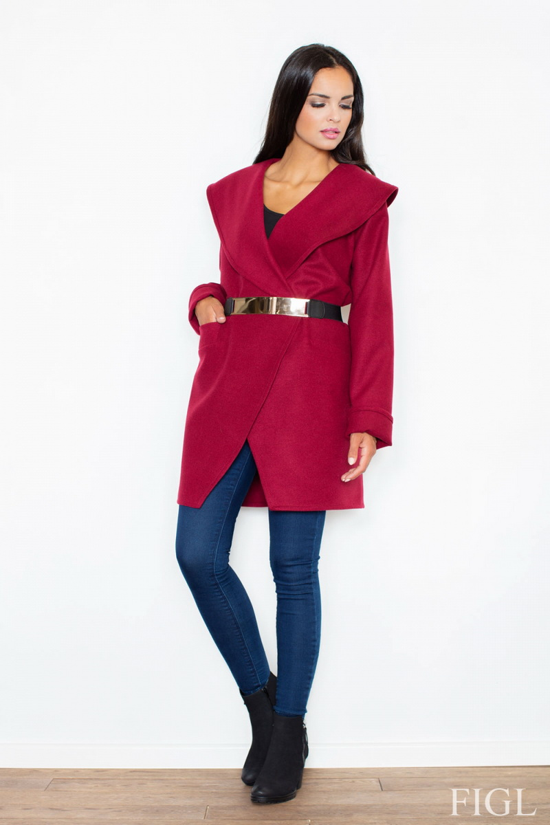 Dámský kabát Figl M407 bordový (velikost XL)