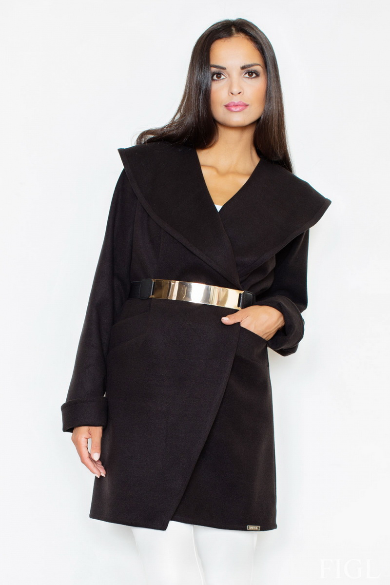 Dámský kabát Figl M407 černý (velikost XL)