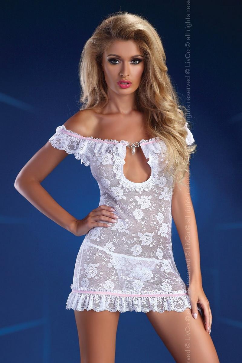 Erotické šaty LivCo Corsetti Mija bílé (velikost L/XL)