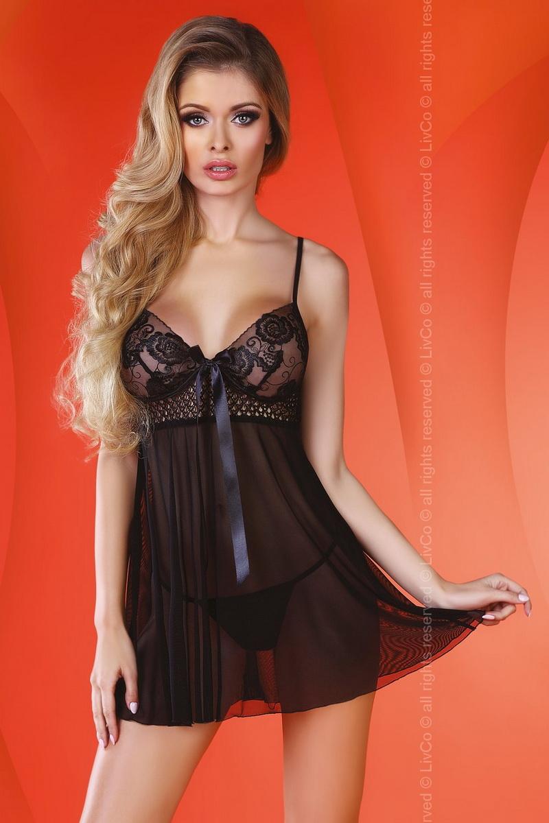 Erotická košilka LivCo Corsetti Lizzie černá (velikost L/XL)