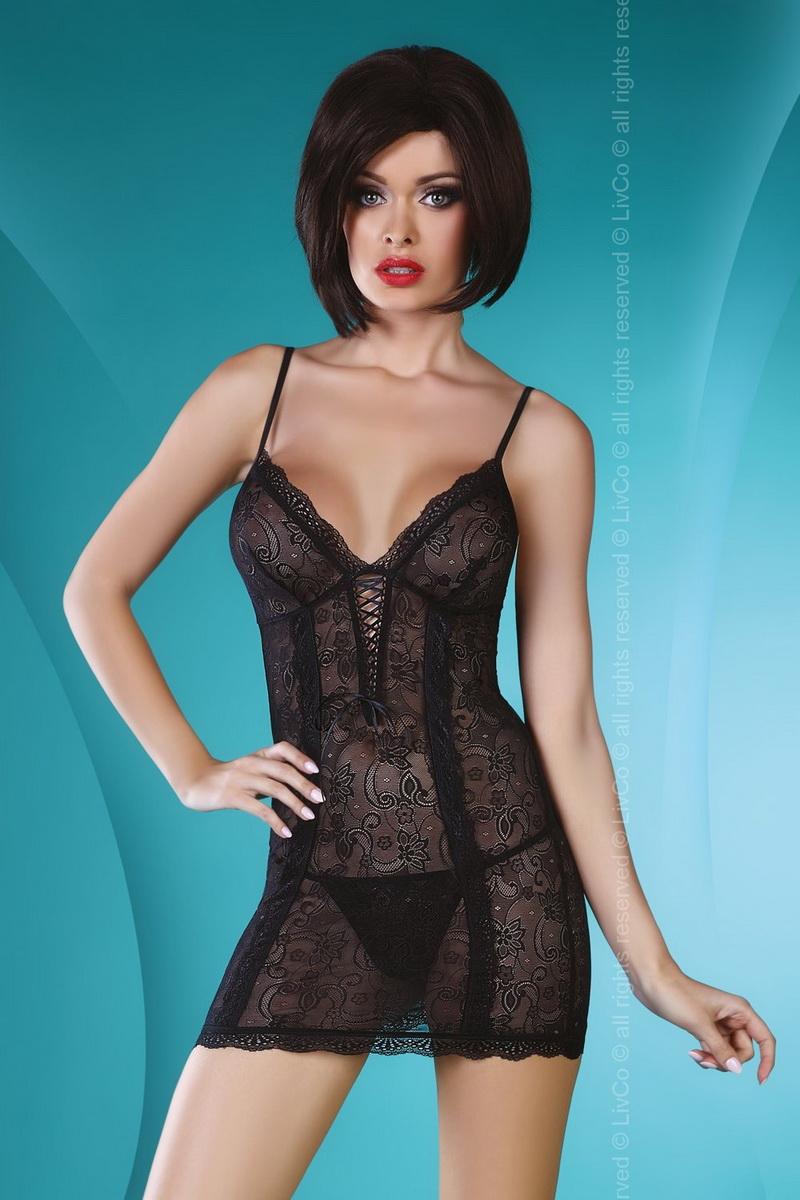 Erotická košilka LivCo Corsetti Hannah černá (velikost L/XL)
